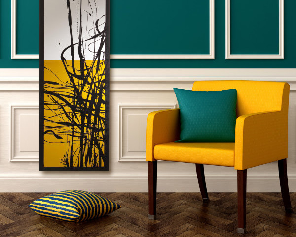 Yellow chair on blue background